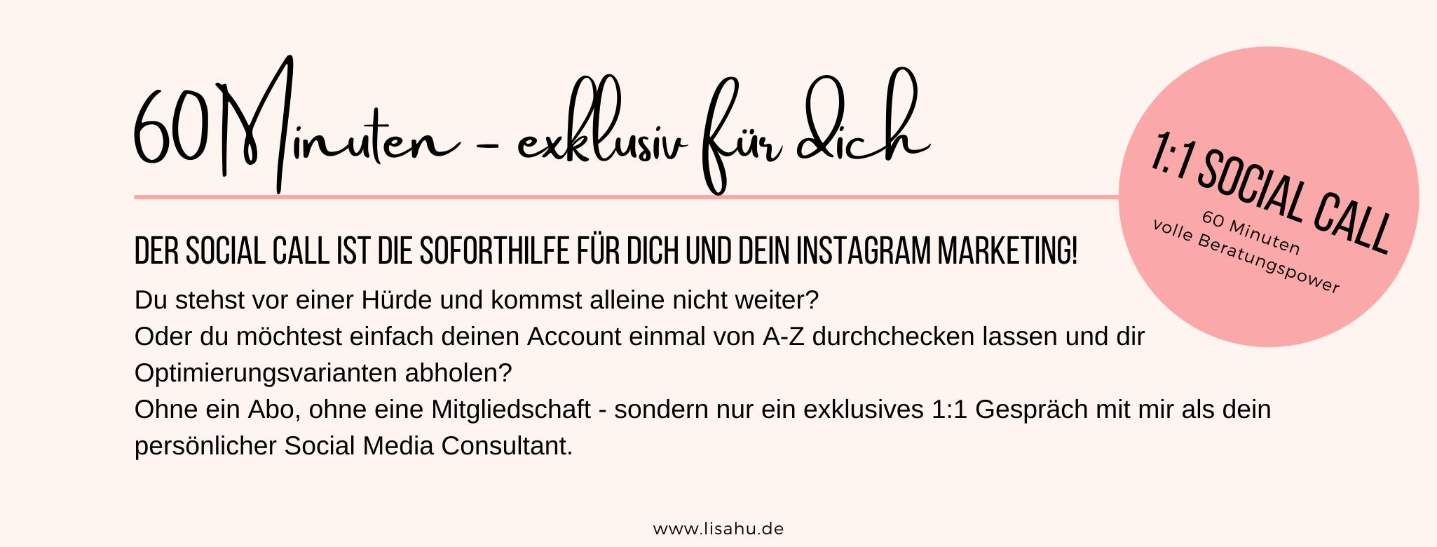 Social Call für deine Soforthilfe für Instagram