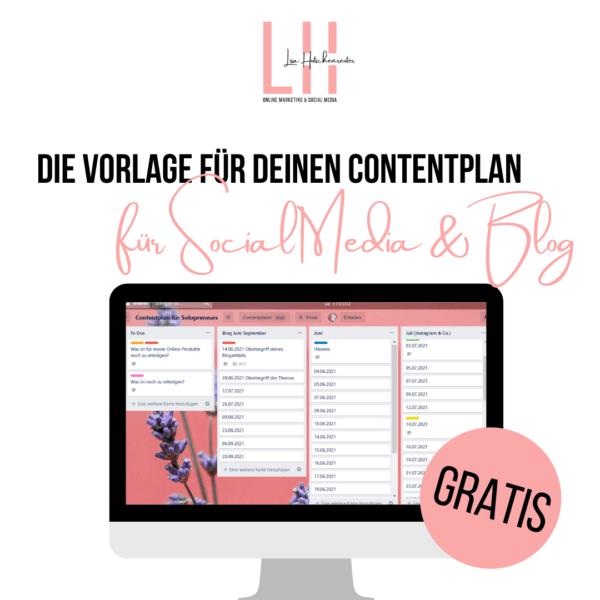 Die Vorlage für deinen Contentplan für Social Media & Blog