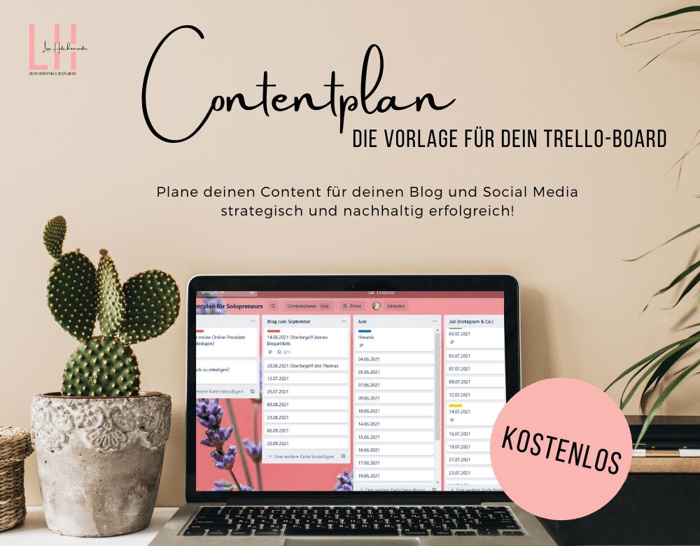 kostenlose Vorlage für deinen Contentplan Redaktionsplan für Blog, Social Media wie Instagram