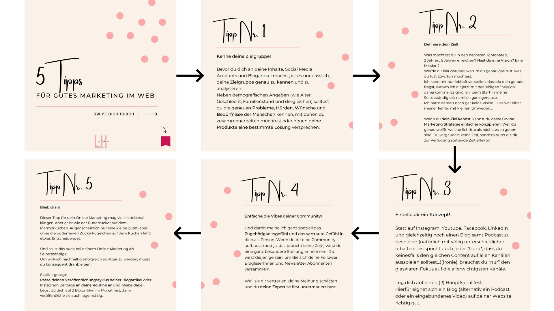 Beispiel: Karussellpost für 5 Tipps für einfaches und gutes Online Marketing