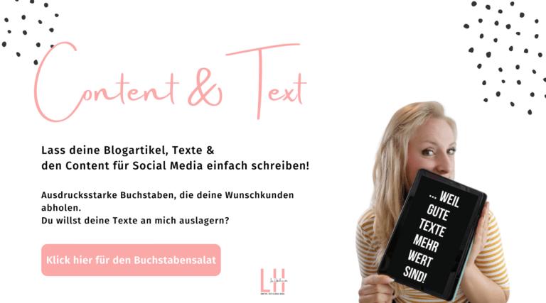 Texterin für Blogartikel, Newsletter und Content auf Social Media Instagram Lisa Hutschenreuter